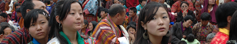 YOUNG BHUTANESE GIRLS IN THE FESTIVAL